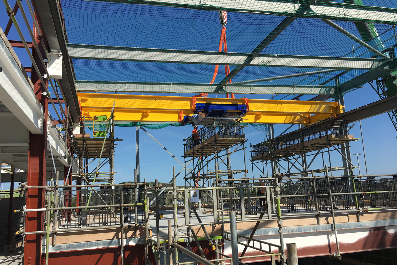 Installing the crane at Yeovilton